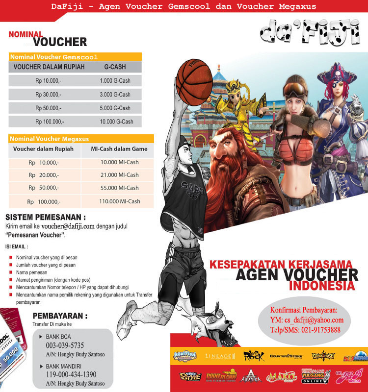 Voucher Gemscool Disc 7% dan Voucher Megaxus Disc 11%